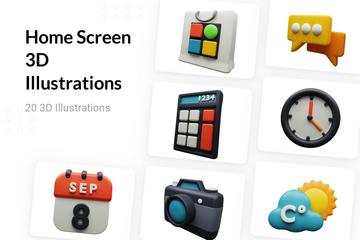 Home Screen 3D Illustration Pack