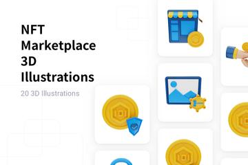 NFT Marketplace 3D Illustration Pack
