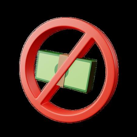 Banned Cash 3D Illustration