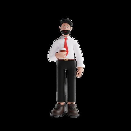 Business person enjoying break time 3D Illustration