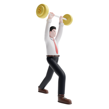 Business person lifting weight 3D Illustration
