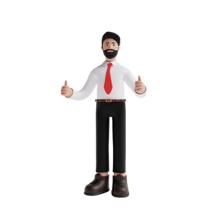 Business person showing Thumbs Up hand gesture 3D Illustration