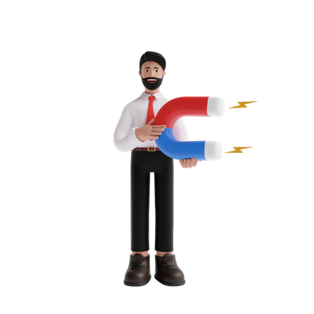 Business person working on customer based marketing 3D Illustration