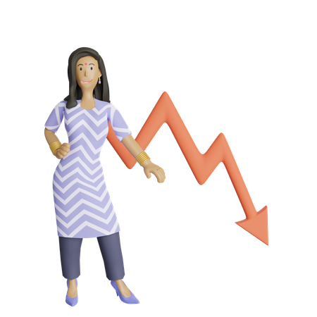 Business woman got loss in business 3D Illustration