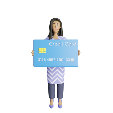 Business woman holding credit card 3D Illustration