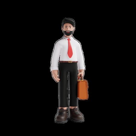 Businessman holding Suitcase 3D Illustration