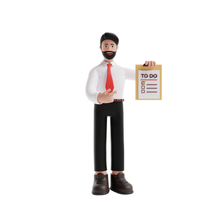 Businessman holding Todo List 3D Illustration