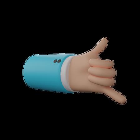 Call me hand gesture 3D Illustration