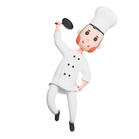 Cheerful chef with holding frying pan 3D Illustration