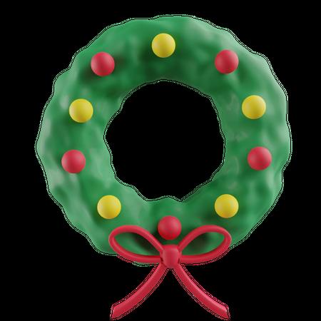 Christmas wreath 3D Illustration