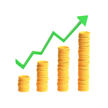 Coins Chart 3D Illustration
