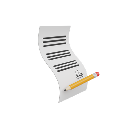 Contract 3D Illustration