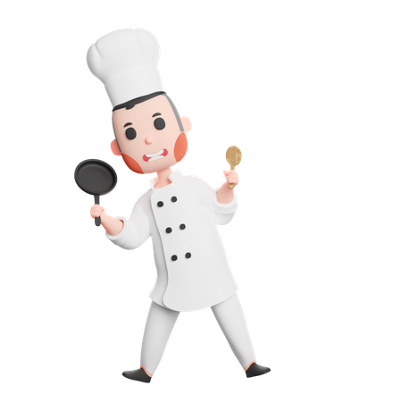 Cute chef holding frying pan and spatula utensil 3D Illustration