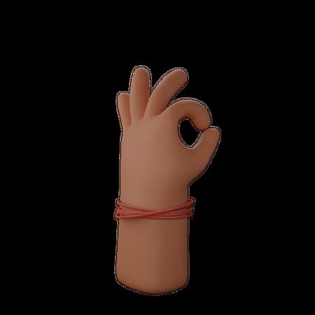 Hand showing ok sign 3D Illustration