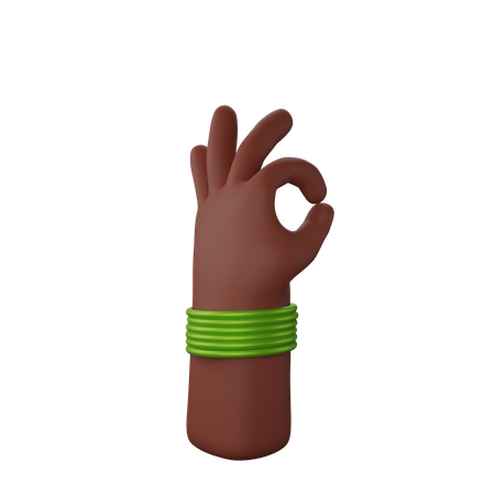 Hand with bangles showing All ok gesture 3D Illustration