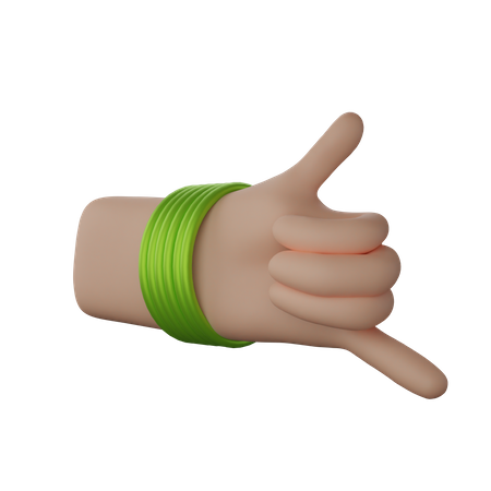 Hand with bangles showing Call me gesture 3D Illustration