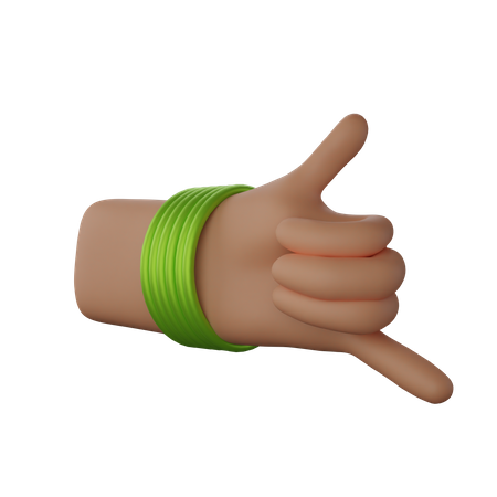 Hand with bangles showing Call me sign 3D Illustration