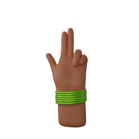 Hand with bangles showing Finger Gun Sign 3D Illustration