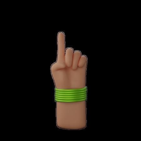 Hand with bangles showing finger up gesture 3D Illustration