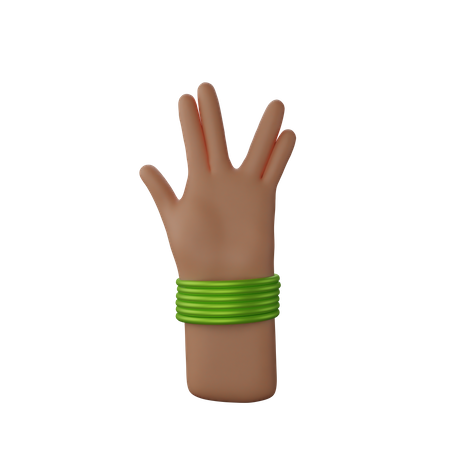 Hand with bangles showing Live Long And Prosper Sign 3D Illustration