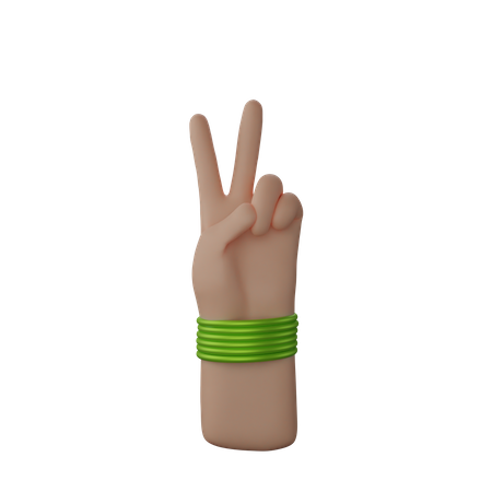 Hand with bangles showing Peace sign 3D Illustration