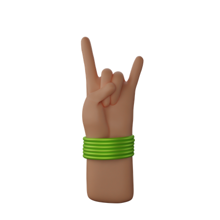 Hand with bangles showing Rock and Roll Sign 3D Illustration