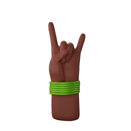 Hand with bangles showing Rock N' Roll Sign 3D Illustration