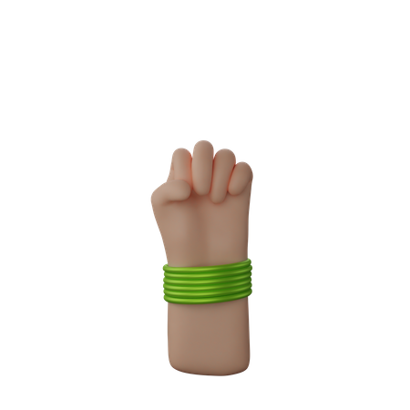 Hand with bangles showing Solidarity Fist Sign 3D Illustration