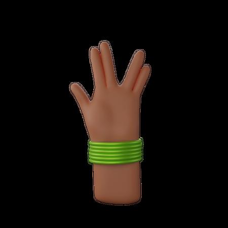Hand with bangles showing spoke sign 3D Illustration