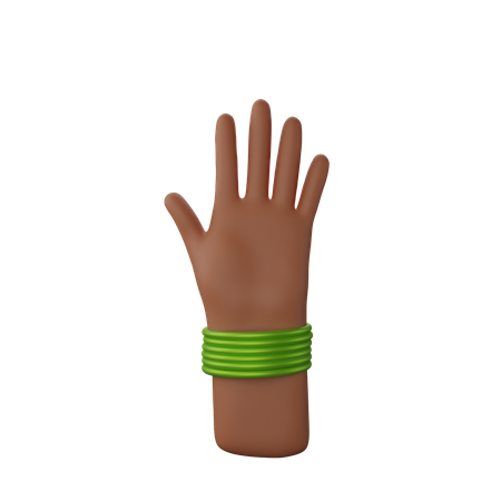 Hand with bangles showing Stop gesture 3D Illustration