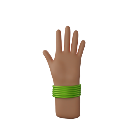 Hand with bangles showing Stop sign 3D Illustration