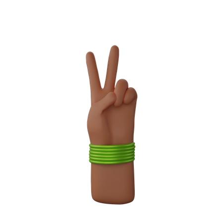 Hand with bangles showing victory sign 3D Illustration