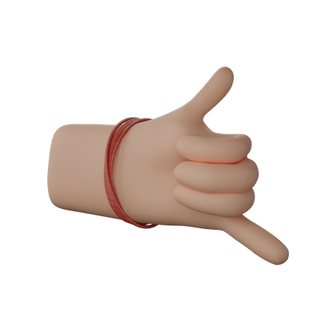 Hand with dhaga showing Call me gesture 3D Illustration