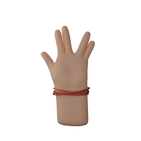 Hand with dhaga showing Live Long And Prosper Sign 3D Illustration
