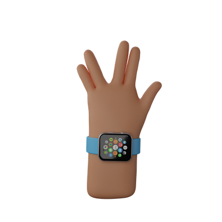 Hand with fitness band showing Live Long And Prosper Sign 3D Illustration