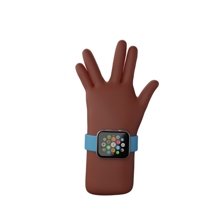 Hand with fitness band showing spoke Sign 3D Illustration