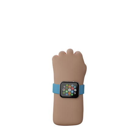 Hand with fitness watch showing Solidarity Fist Sign 3D Illustration