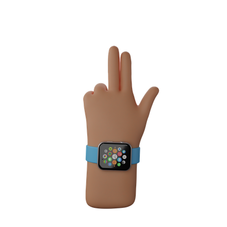 Hand with smart band 3D Illustration