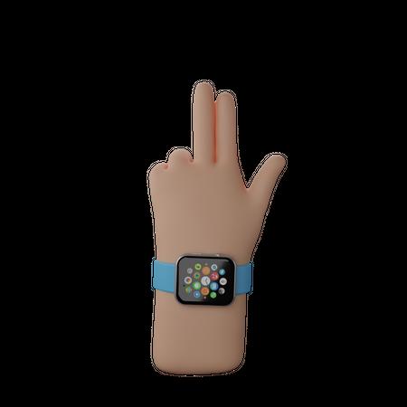 Hand with smart band showing Finger Gun Sign 3D Illustration