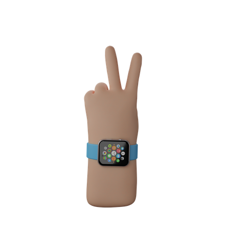 Hand with smart band showing Peace sign 3D Illustration