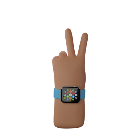 Hand with smart band showing Victory sign 3D Illustration