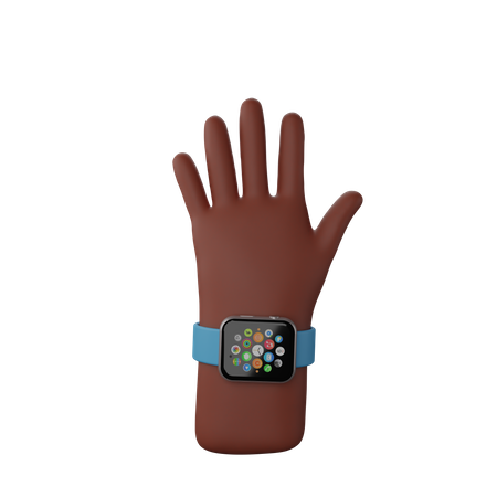 Hand with smart watch 3D Illustration