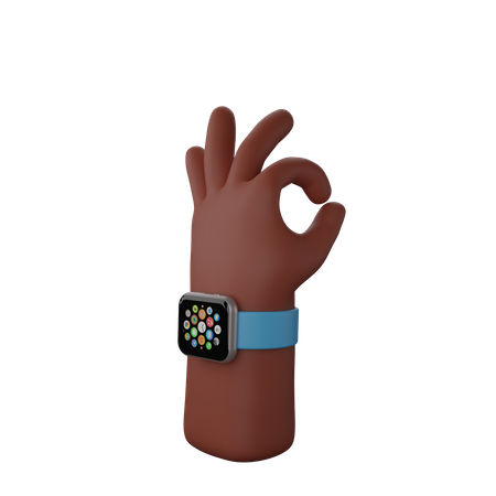 Hand with smart watch showing All ok sign 3D Illustration