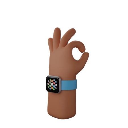 Hand with smart watch showing All okay gesture 3D Illustration