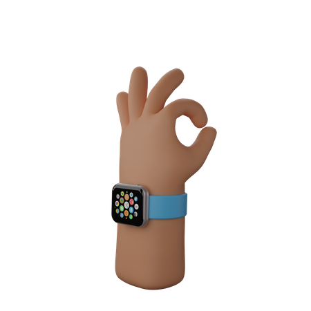 Hand with smart watch showing All okay sign 3D Illustration