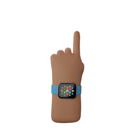 Hand with smart watch showing Finger up gesture 3D Illustration