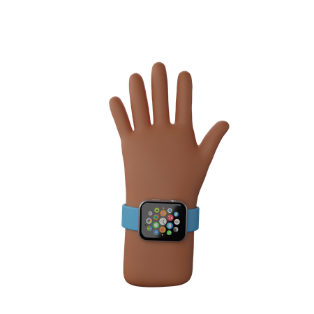 Hand with smart watch showing Stop gesture 3D Illustration