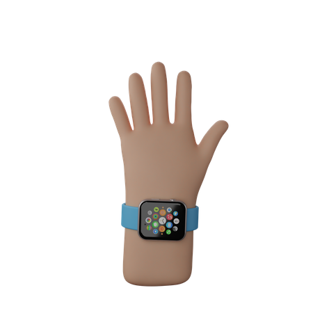 Hand with smart watch showing Stop sign 3D Illustration