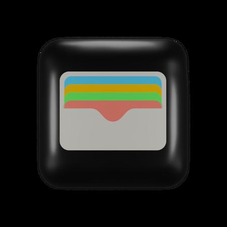 Ios Wallet Application logo 3D Illustration
