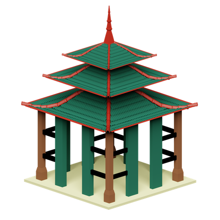 Japanese Temple 3D Illustration